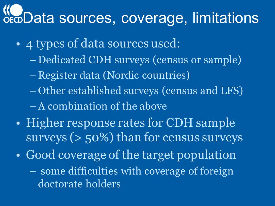 Data sources, coverage, limitations 4 types of data sources used: –Dedicated CDH surveys (census or sample) –Register data (Nordic countries) –Other e