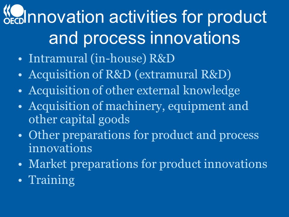 Innovation activities for product and process innovations Intramural (in-house) R&D Acquisition of R&D (extramural R&D) Acquisition of other external