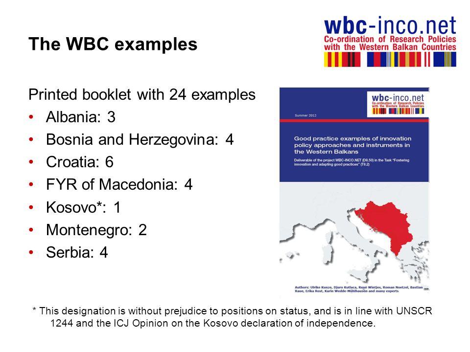 The WBC examples Printed booklet with 24 examples Albania: 3 Bosnia and Herzegovina: 4 Croatia: 6 FYR of Macedonia: 4 Kosovo*: 1 Montenegro: 2 Serbia: