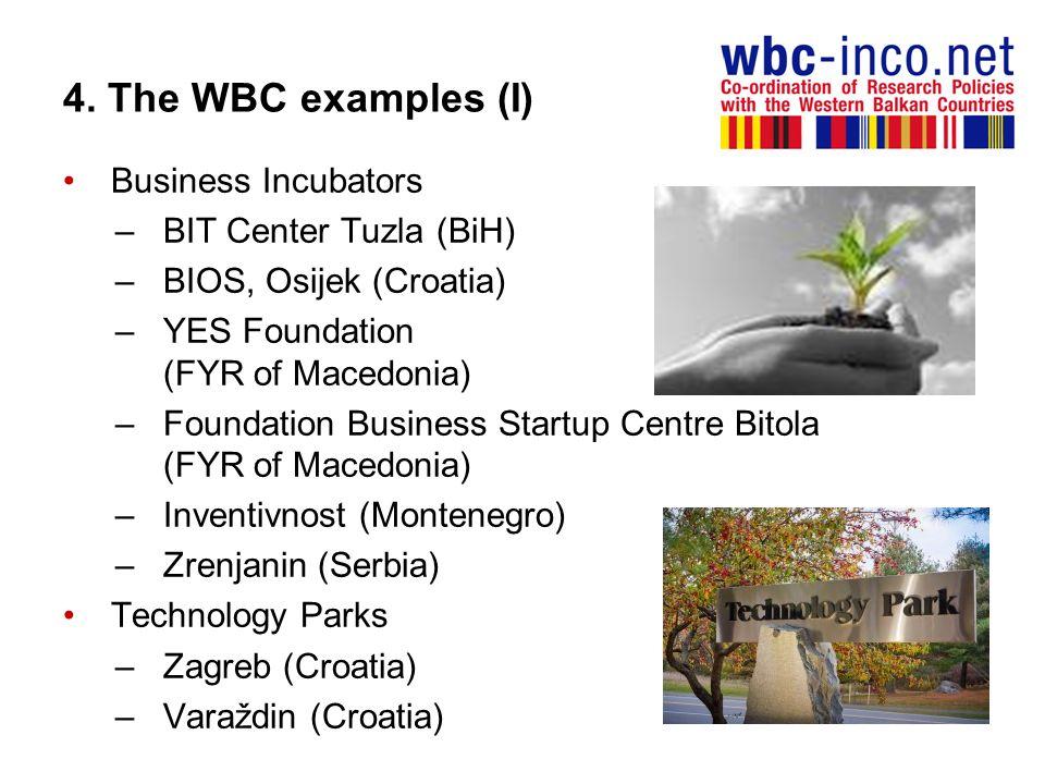 4. The WBC examples (I) Business Incubators –BIT Center Tuzla (BiH) –BIOS, Osijek (Croatia) –YES Foundation (FYR of Macedonia) –Foundation Business St