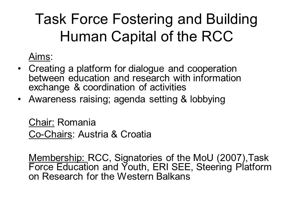 Task Force Fostering and Building Human Capital of the RCC Constituent Meeting of the Task Force on 13 June, 2008 in Ljubljana