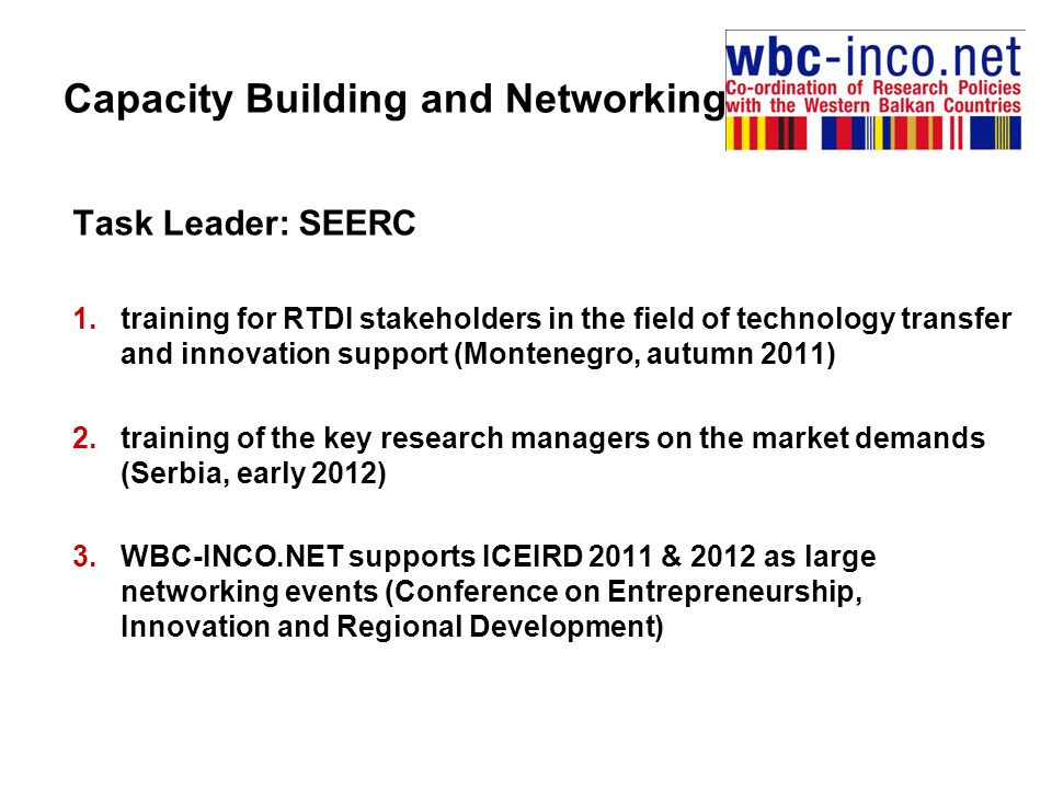 Task Leader: SEERC 1.training for RTDI stakeholders in the field of technology transfer and innovation support (Montenegro, autumn 2011) 2.training of