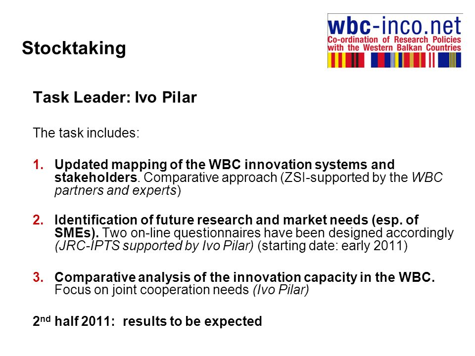 Stocktaking Task Leader: Ivo Pilar The task includes: 1.Updated mapping of the WBC innovation systems and stakeholders.