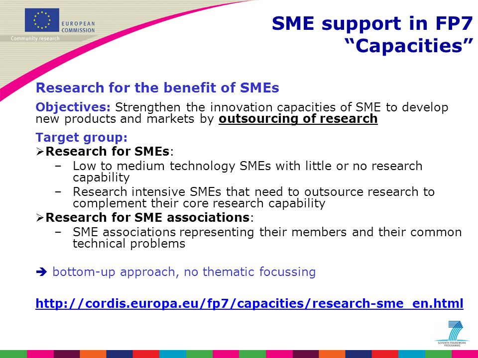 Research for the benefit of SMEs Objectives: Strengthen the innovation capacities of SME to develop new products and markets by outsourcing of researc