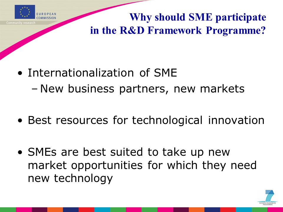 Basic SMEs 70% Technology adopting enterprises 20% Leading Technology users <10% Technology pioneers <3% % None or few R&D activities Adapting existing technologies – low innovative SMEs Developing or combining existing technologies on an innovative level High level research activities Categories of SMEs Source: EURABs report on SMEs and ERA