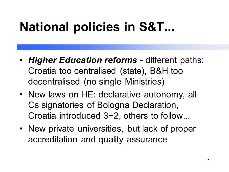 12 National policies in S&T...