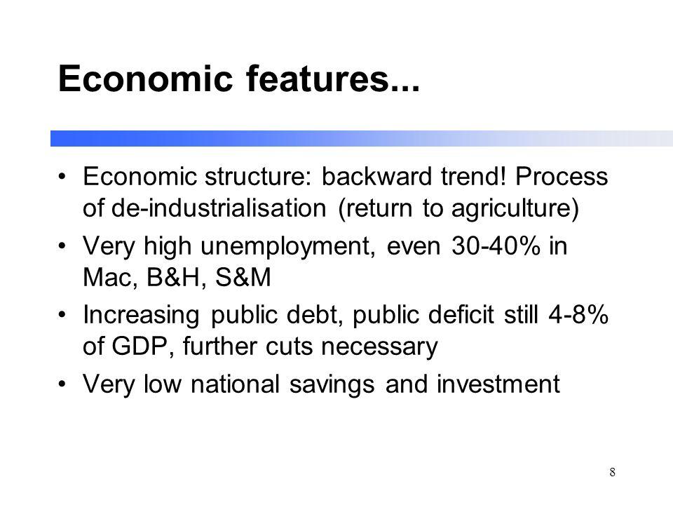 8 Economic features... Economic structure: backward trend! Process of de-industrialisation (return to agriculture) Very high unemployment, even 30-40%