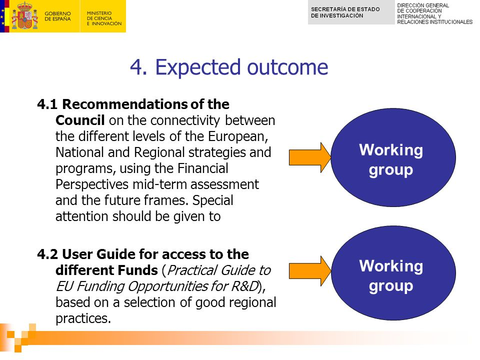 4. Expected outcome 4.1 Recommendations of the Council on the connectivity between the different levels of the European, National and Regional strateg
