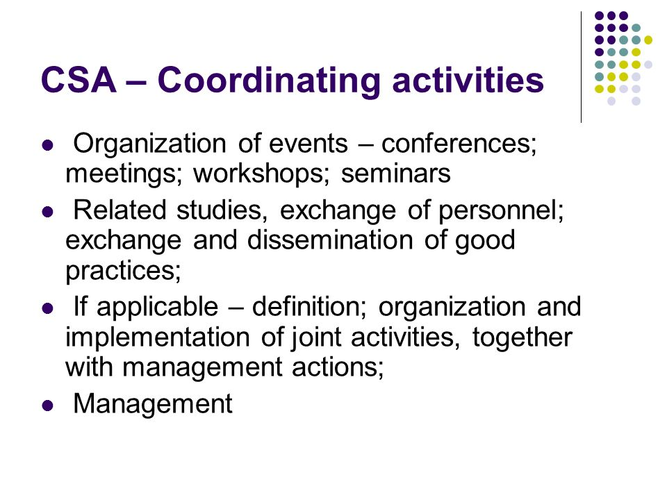 CSA – Coordinating activities Organization of events – conferences; meetings; workshops; seminars Related studies, exchange of personnel; exchange and