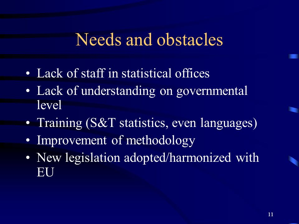 11 Needs and obstacles Lack of staff in statistical offices Lack of understanding on governmental level Training (S&T statistics, even languages) Impr