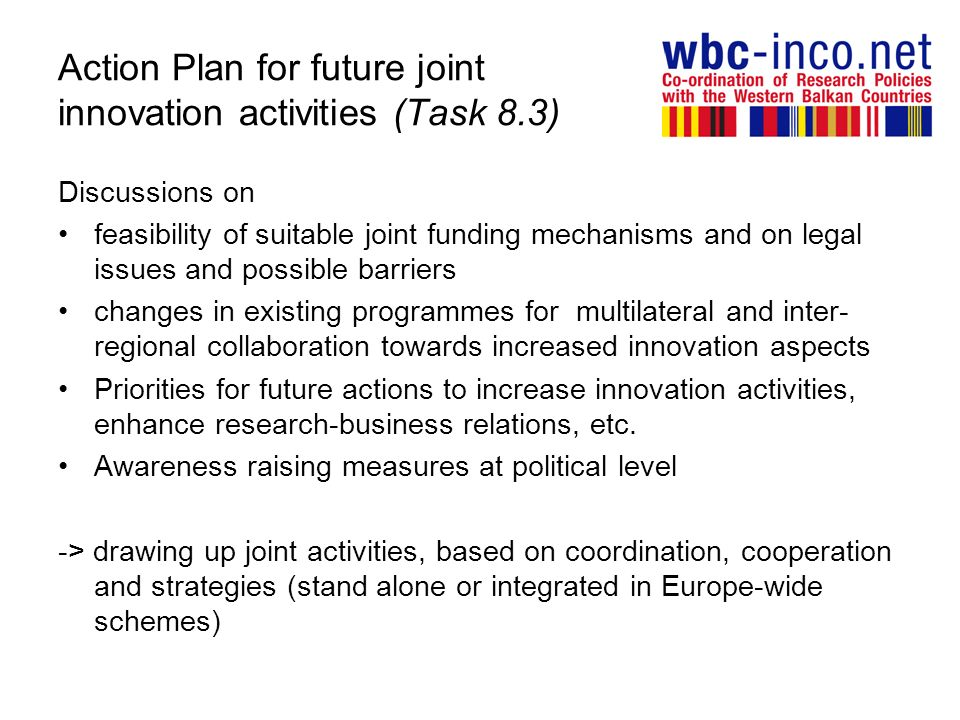 Action Plan for future joint innovation activities (Task 8.3) Discussions on feasibility of suitable joint funding mechanisms and on legal issues and possible barriers changes in existing programmes for multilateral and inter- regional collaboration towards increased innovation aspects Priorities for future actions to increase innovation activities, enhance research-business relations, etc.