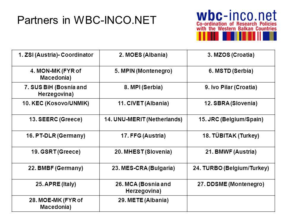 Partners in WBC-INCO.NET 1. ZSI (Austria)- Coordinator2. MOES (Albania)3. MZOS (Croatia) 4. MON-MK (FYR of Macedonia) 5. MPIN (Montenegro)6. MSTD (Ser