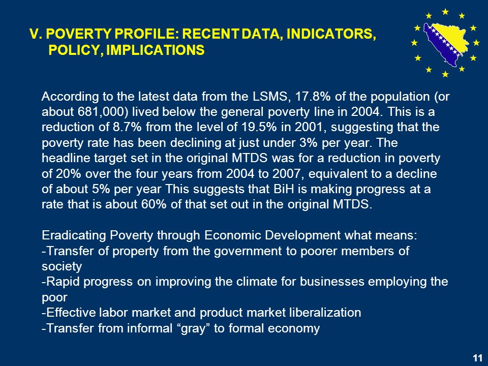 11 V. POVERTY PROFILE: RECENT DATA, INDICATORS, POLICY, IMPLICATIONS According to the latest data from the LSMS, 17.8% of the population (or about 681