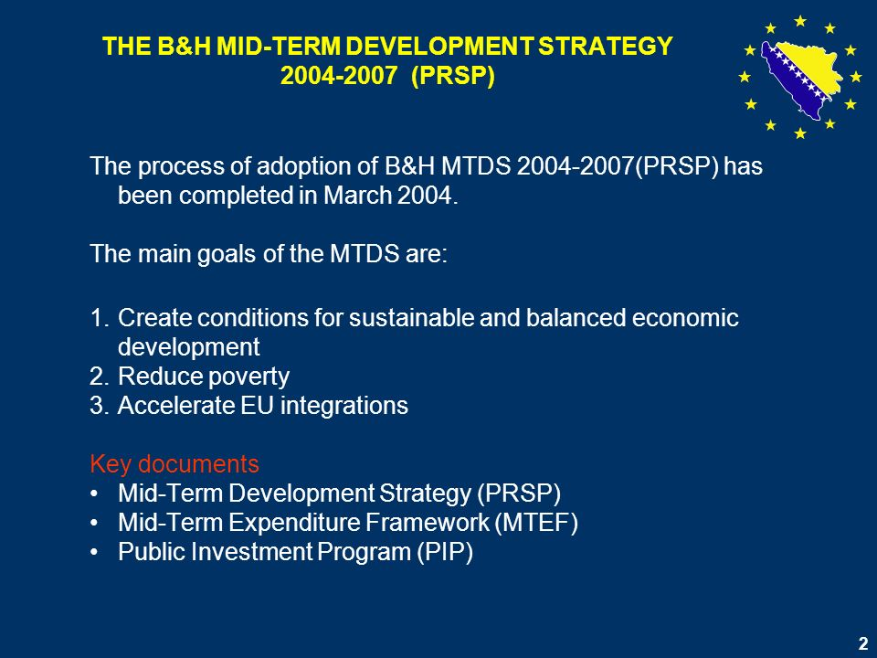 3 Activities of the EPPU - Office for Monitoring and Implementation of MTDS (PIMU) In May 2004 CoM B&H decided to organize EPPU - PIMU as a part of the Office of the Chairman of the BiH Council of Ministers; The EPPU-PIMU activities include: Work with governmental working groups, Monitoring and implementation activities, Statistics related activities, Coordination of preparation of the short-term and long-term development strategies, Formulation of policies and priorities for donor community Aid coordination activities Cooperation with ministries on state and entity level Cooperation with Directorate for European Integrations and other bodies of B&H CoM Cooperation with NGOs Social sector activities Poverty reduction activities Impact assessment Relations with media Preparation of conferences and other important meetings related to policy decision making Training activities