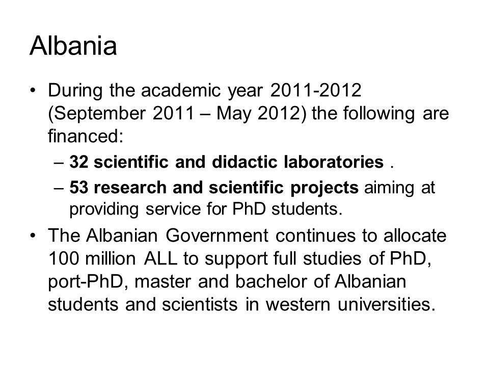 During the academic year 2011-2012 (September 2011 – May 2012) the following are financed: –32 scientific and didactic laboratories.