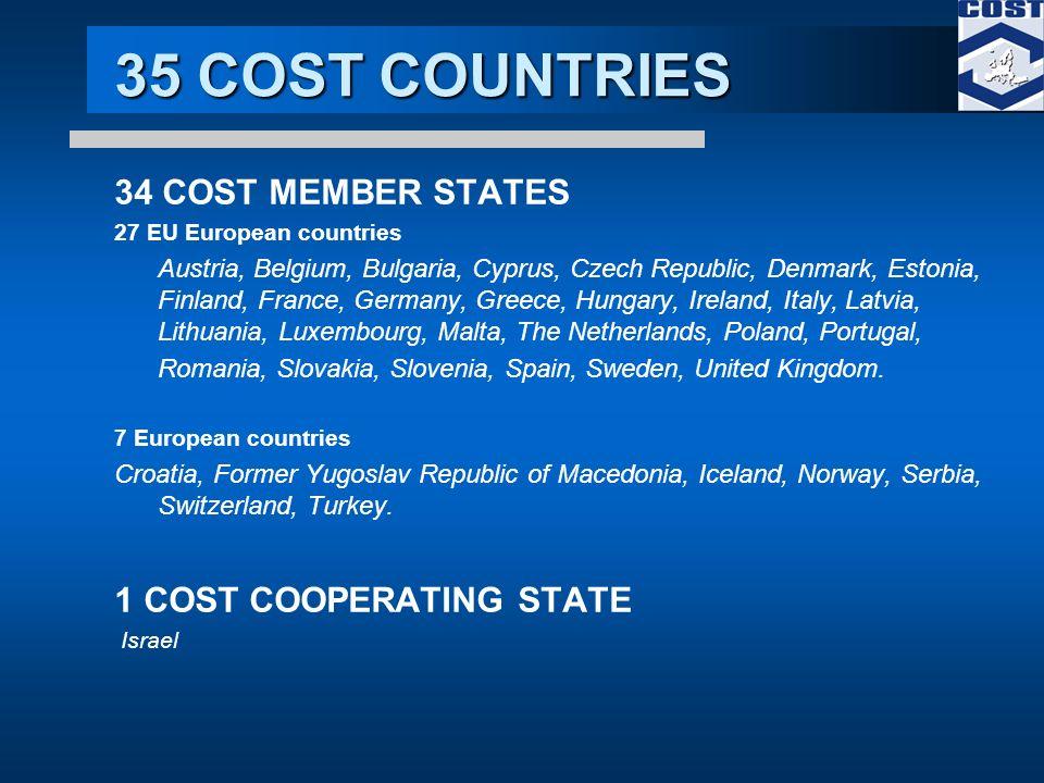 35 COST COUNTRIES 34 COST MEMBER STATES 27 EU European countries Austria, Belgium, Bulgaria, Cyprus, Czech Republic, Denmark, Estonia, Finland, France, Germany, Greece, Hungary, Ireland, Italy, Latvia, Lithuania, Luxembourg, Malta, The Netherlands, Poland, Portugal, Romania, Slovakia, Slovenia, Spain, Sweden, United Kingdom.