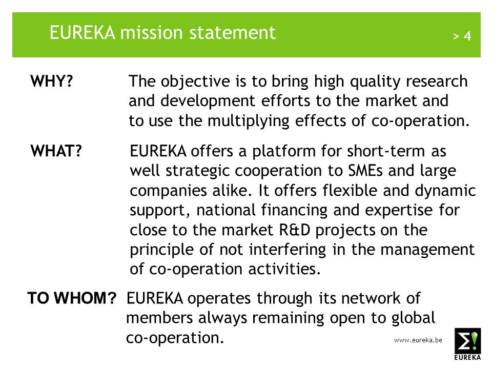 www.eureka.be > 25 EUREKA in the Western Balkan countries: Summary-2 EUREKA is a tool for European innovation EUREKA projects are co-funded locally International co-operation is sharing risk and cumulating more sources of co-funding Wider and cross-boder market application of results but EUREKA is a part of national innovation policy