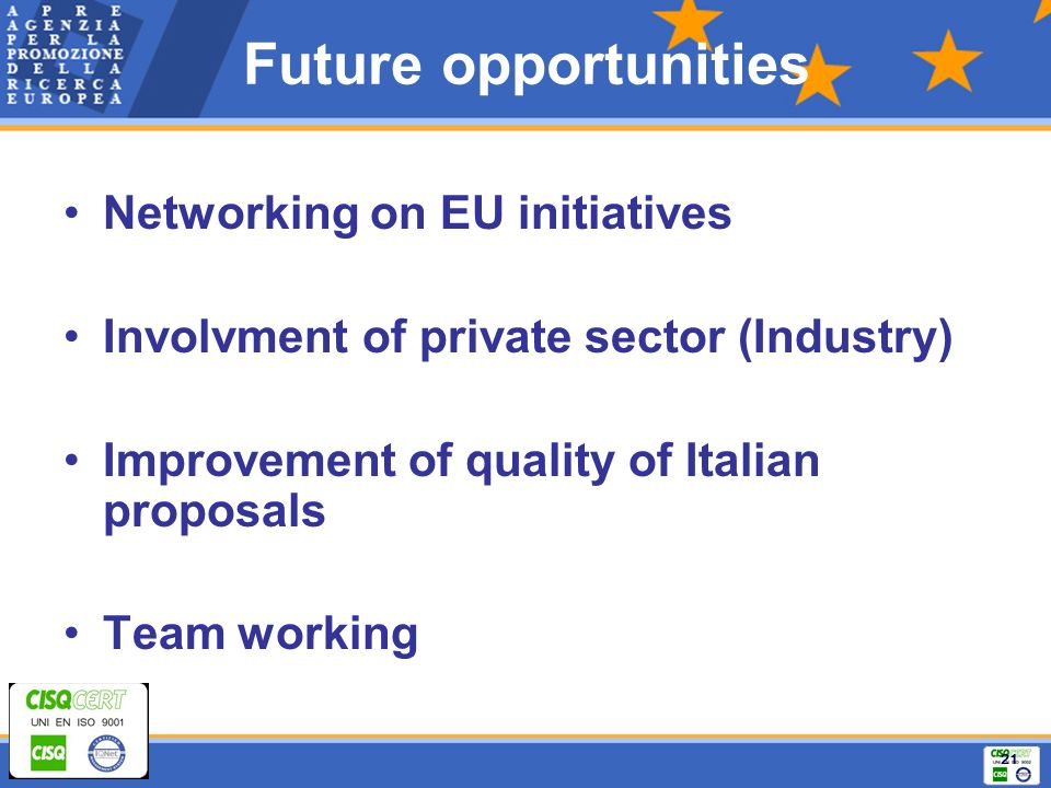 21 Future opportunities Networking on EU initiatives Involvment of private sector (Industry) Improvement of quality of Italian proposals Team working