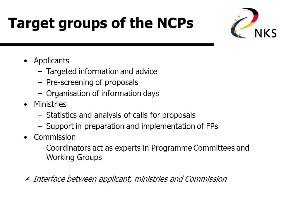 Tasks of the NCPs Information management –newsletter, internet, publications Consulting –telephone, email or personal onsite consulting services Event and training programme -systematic and moduled information events and trainings