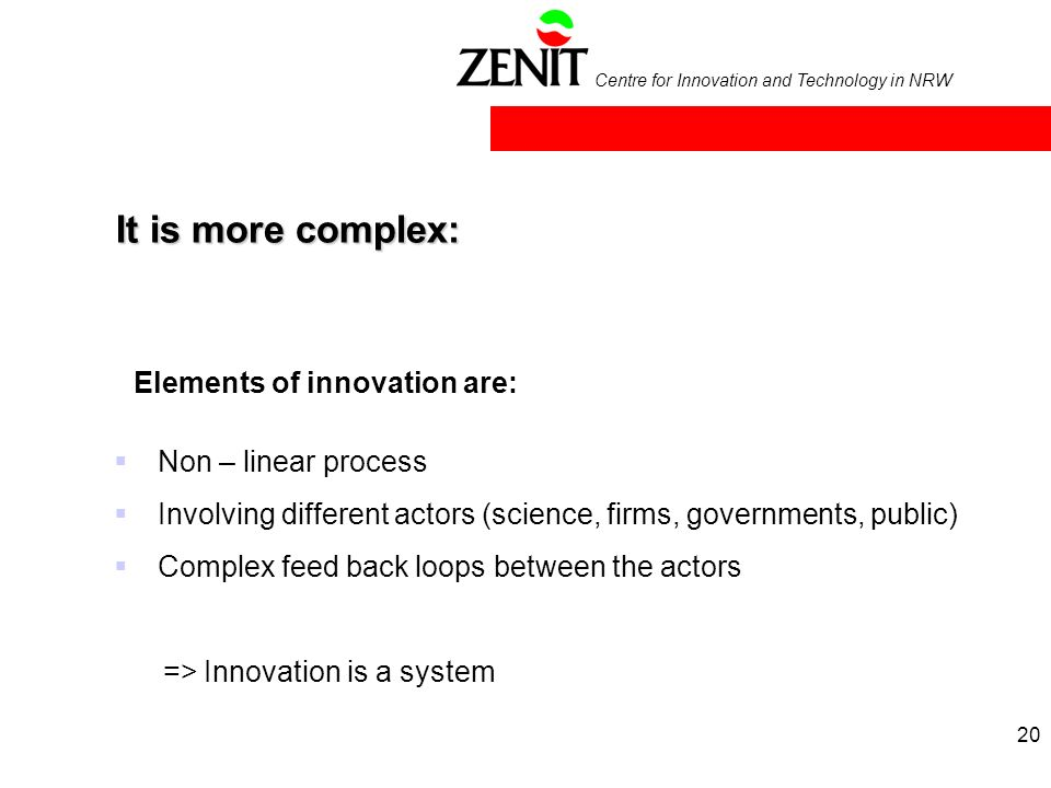 Centre for Innovation and Technology in NRW It is more complex: Non – linear process Involving different actors (science, firms, governments, public) Complex feed back loops between the actors => Innovation is a system Elements of innovation are: 20