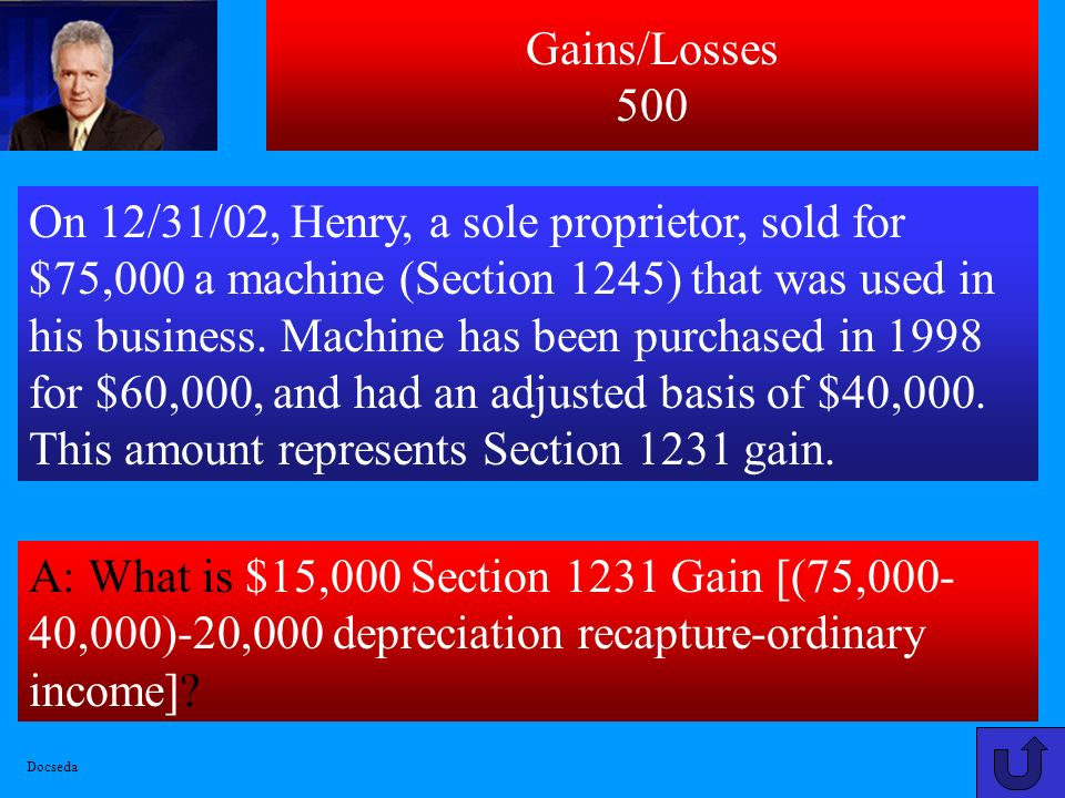 Gains/Losses 400 A: What is $50,000 [after $250,000 gain exclusion].