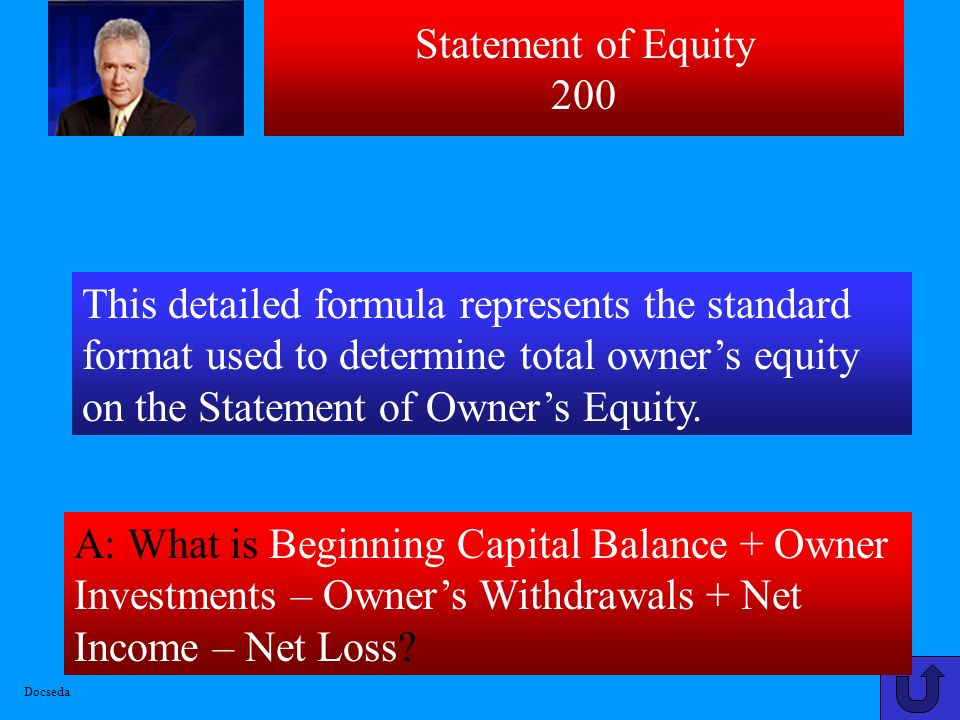 Statement of Equity 100 A: What is Assets – Liabilities = Equity (Accounting Equation)? A – L = E Docseda
