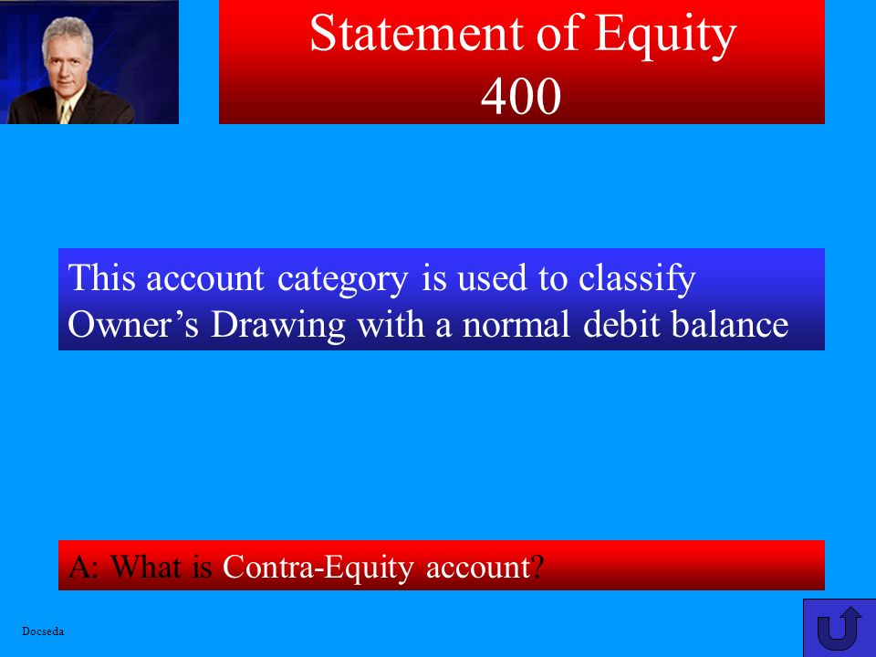 Statement of Equity 300 A: What is $68 [64-2+6]? This amount represents Total Owners Equity for company shown below on Worksheet as of 12/31/03: Docse