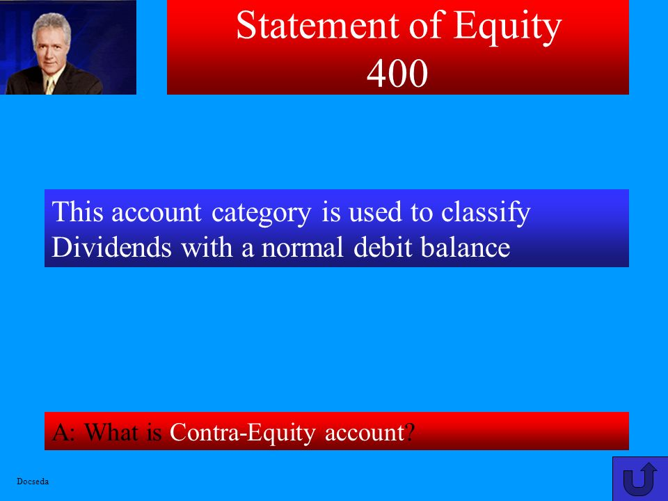 Statement of Equity 300 A: What is $431 [246(CS)+96(R/E Beg.Bal)+104(NI)-15(Dividends)]? This amount represents Total Stockholders Equity for company