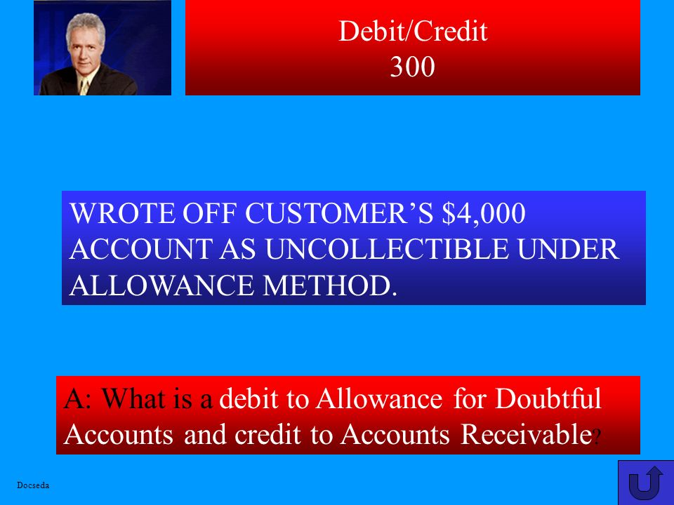 Debit/Credit 300 A: What is a debit to Allowance for Doubtful Accounts and credit to Accounts Receivable .