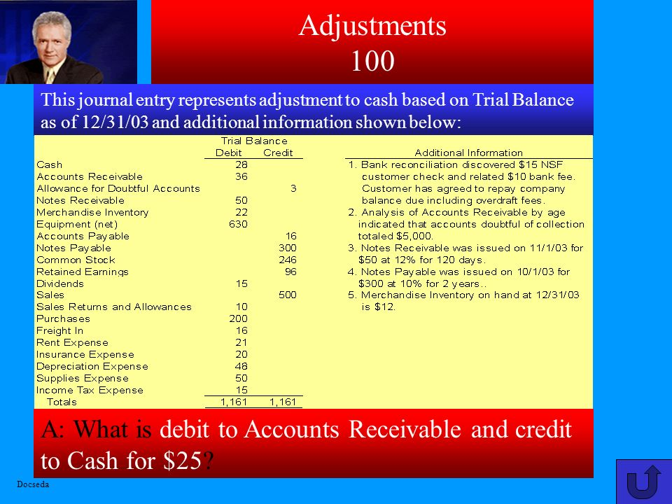 A: What is debit to Accounts Receivable and credit to Cash for $25.