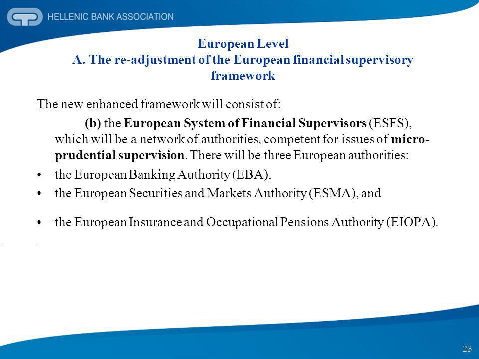 23 European Level A. The re-adjustment of the European financial supervisory framework The new enhanced framework will consist of: (b) the European Sy