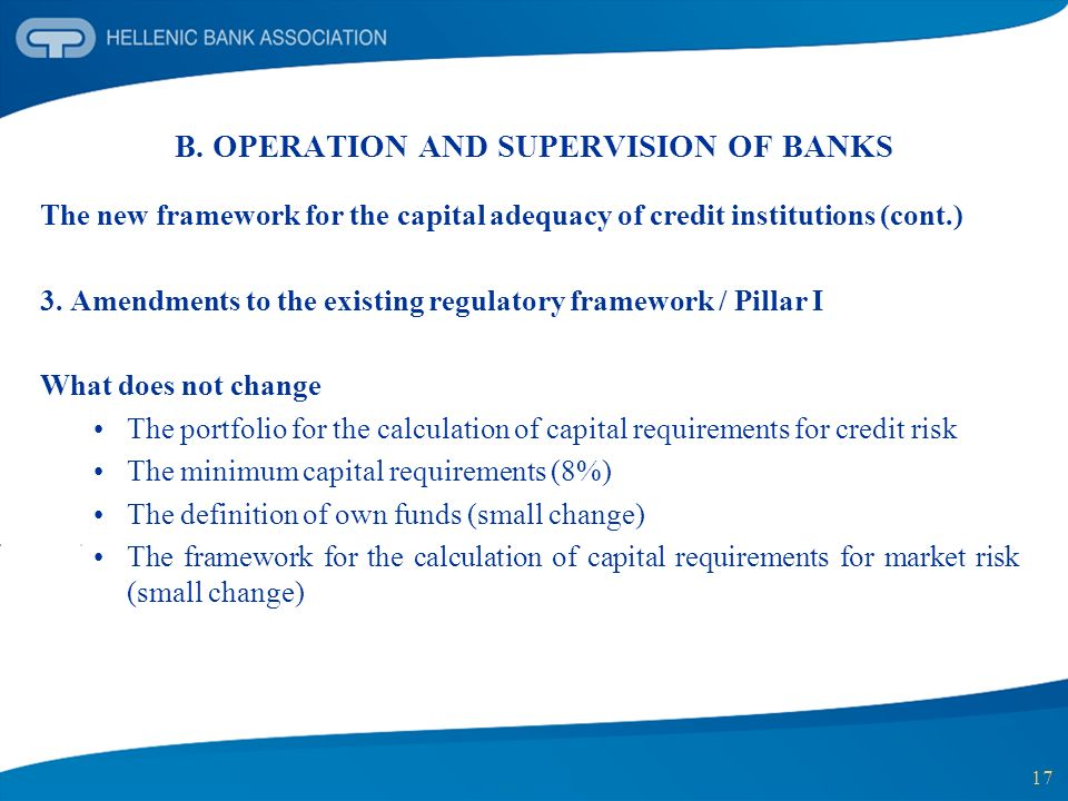 17 B. OPERATION AND SUPERVISION OF BANKS The new framework for the capital adequacy of credit institutions (cont.) 3. Amendments to the existing regul