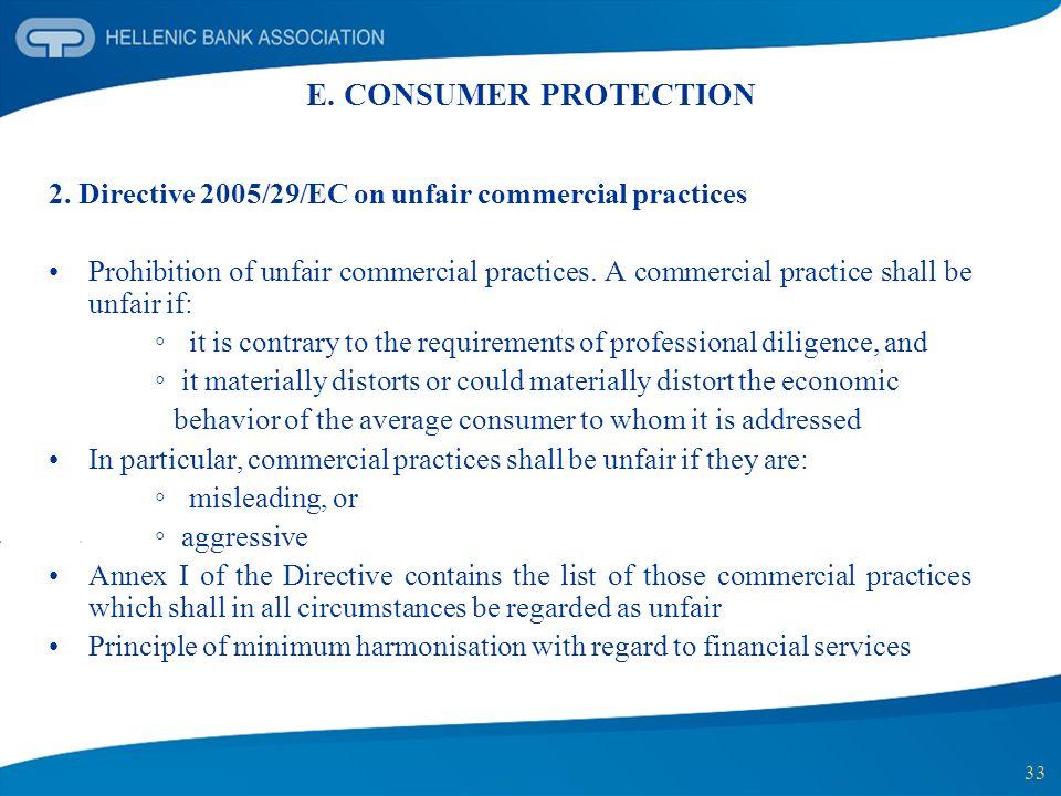 33 E. CONSUMER PROTECTION 2. Directive 2005/29/EC on unfair commercial practices Prohibition of unfair commercial practices. A commercial practice sha