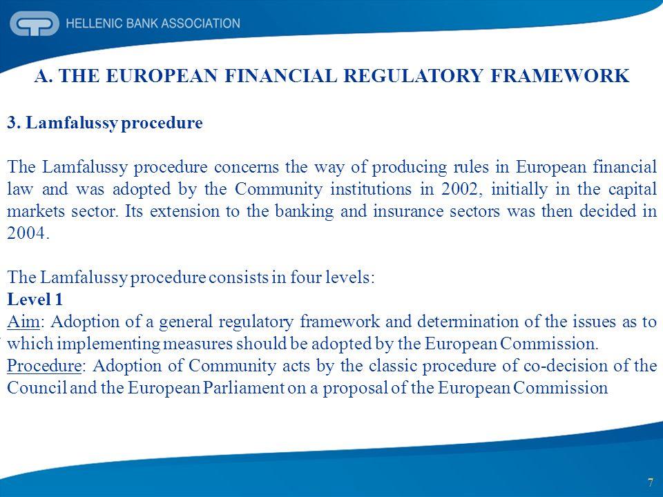 7 A. THE EUROPEAN FINANCIAL REGULATORY FRAMEWORK 3. Lamfalussy procedure The Lamfalussy procedure concerns the way of producing rules in European fina