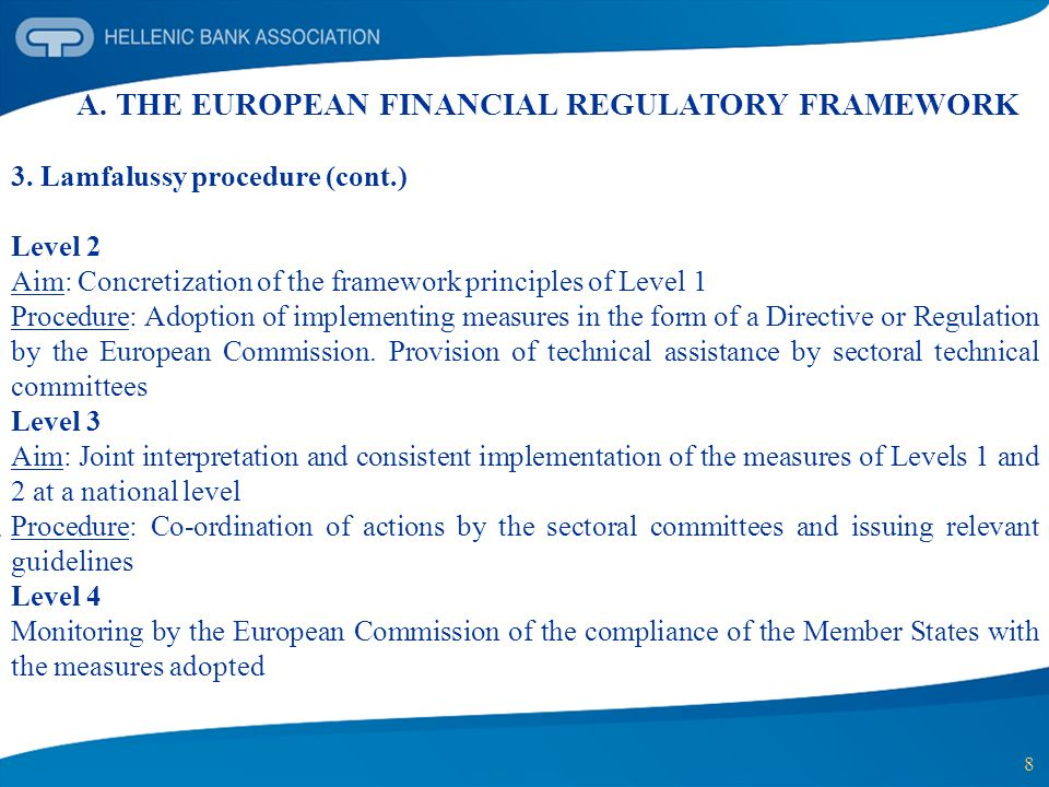 8 A. THE EUROPEAN FINANCIAL REGULATORY FRAMEWORK 3. Lamfalussy procedure (cont.) Level 2 Aim: Concretization of the framework principles of Level 1 Pr