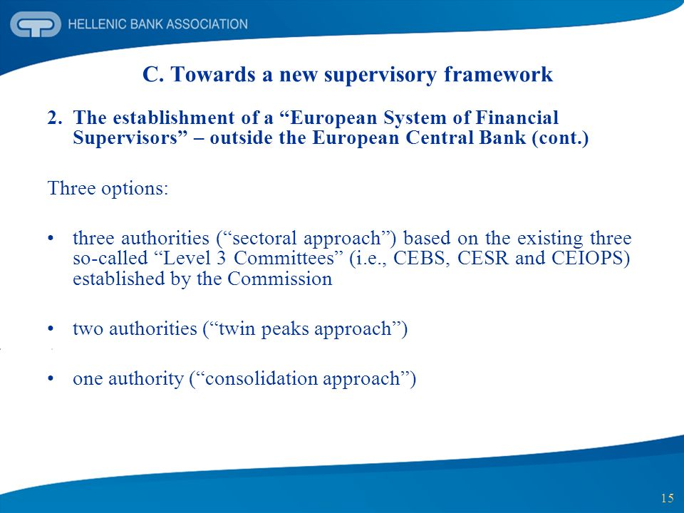 15 C. Towards a new supervisory framework 2. The establishment of a European System of Financial Supervisors – outside the European Central Bank (cont