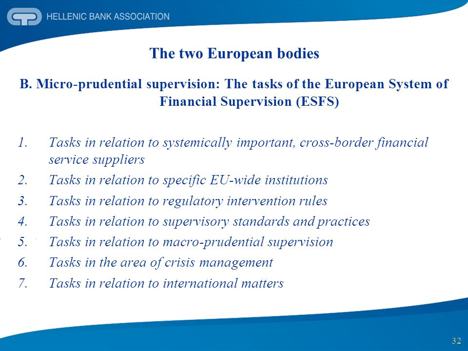 32 B. Micro-prudential supervision: The tasks of the European System of Financial Supervision (ESFS) 1.Tasks in relation to systemically important, cr