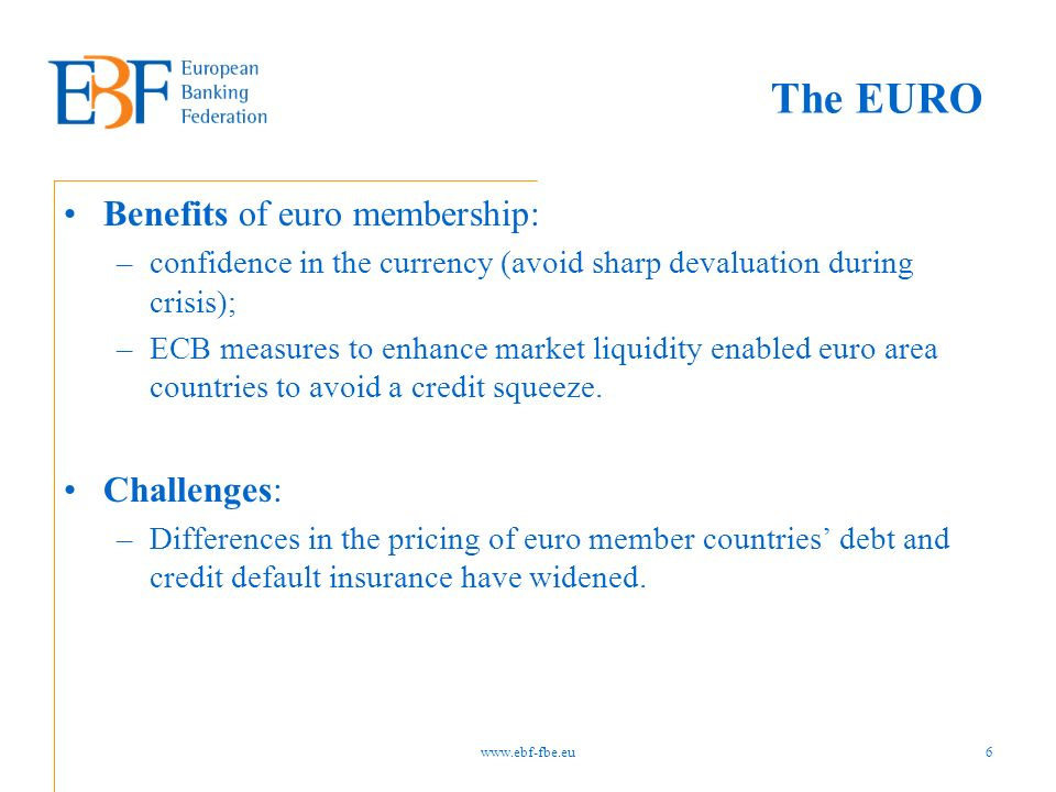 The EURO Benefits of euro membership: –confidence in the currency (avoid sharp devaluation during crisis); –ECB measures to enhance market liquidity e