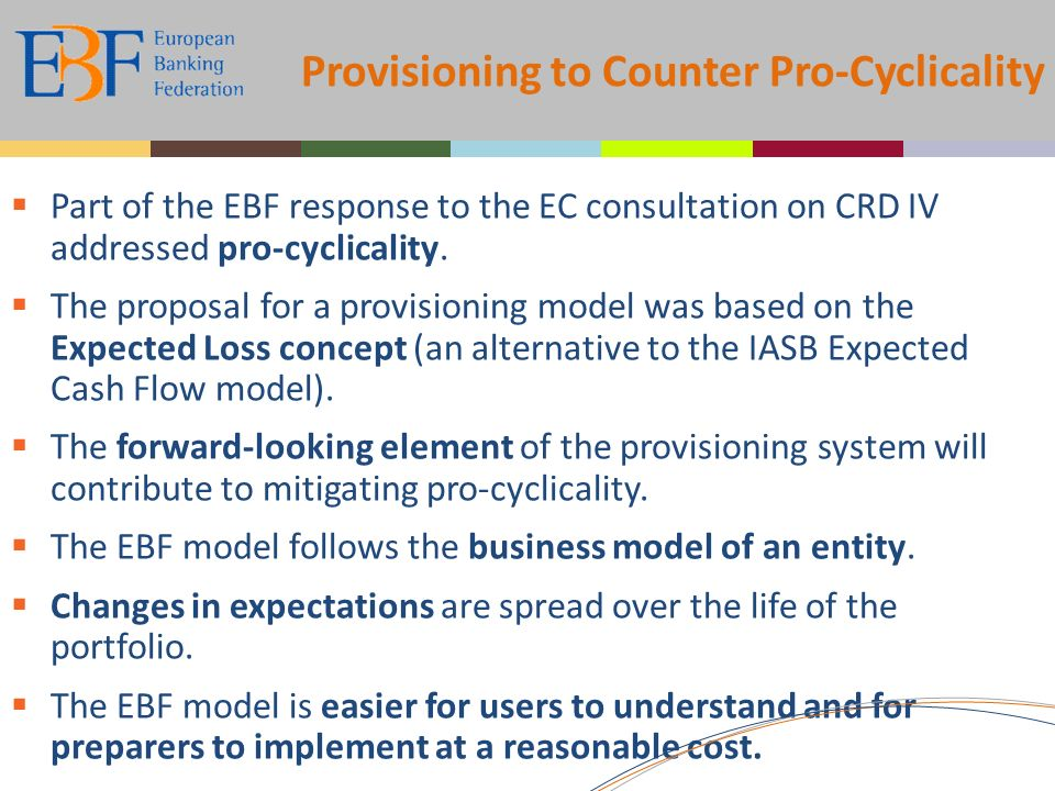 Provisioning to Counter Pro-Cyclicality Part of the EBF response to the EC consultation on CRD IV addressed pro-cyclicality.