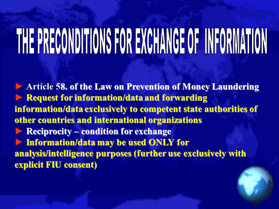 8. of the Law on Prevention of Money Laundering Article 58.