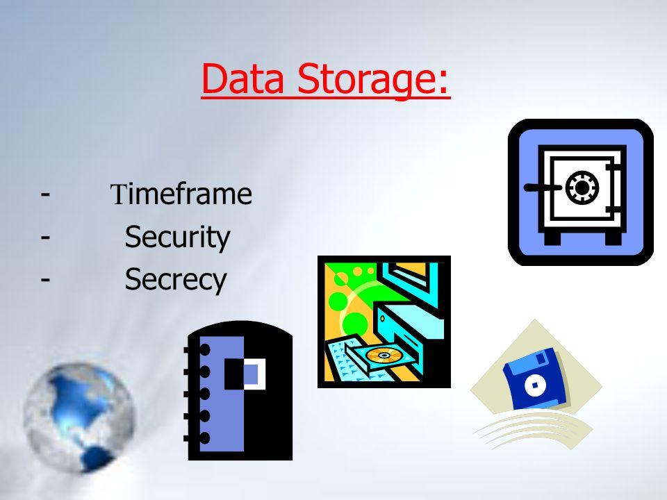 Data Storage: - T imeframe - Security - Secrecy