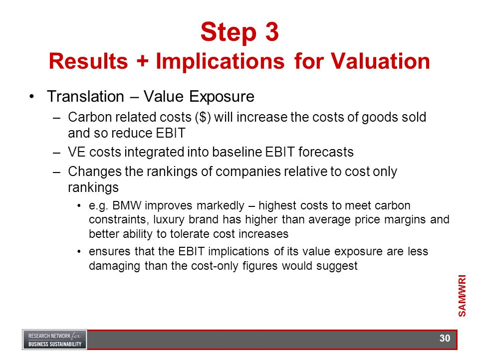 29 Step 3 Results + Implications for Valuation EBIT a foundation for valuation estimates in the auto sector Changes in an OEMs EBIT offer useful insig