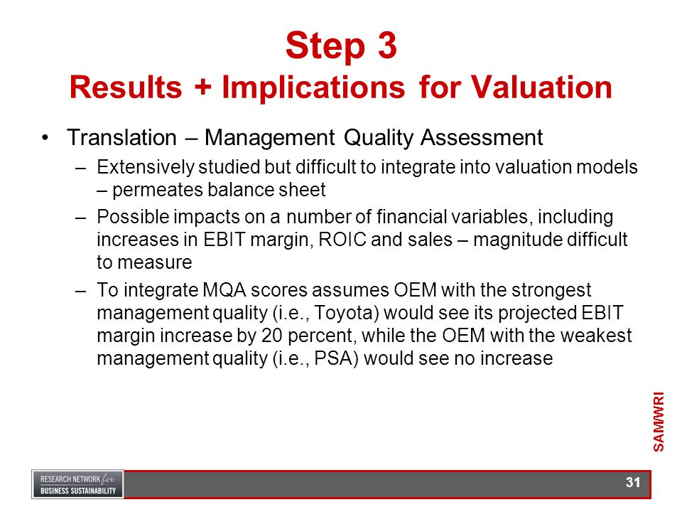 30 Step 3 Results + Implications for Valuation Translation – Value Exposure –Carbon related costs ($) will increase the costs of goods sold and so red