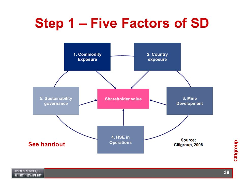 38 Approach – 4 Steps 1.Sets out the five factors of SD Citigroup considers have the potential to add or destroy value for mining and metals companies
