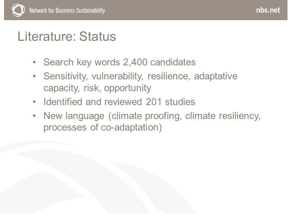 Literature: Status Search key words 2,400 candidates Sensitivity, vulnerability, resilience, adaptative capacity, risk, opportunity Identified and reviewed 201 studies New language (climate proofing, climate resiliency, processes of co-adaptation)