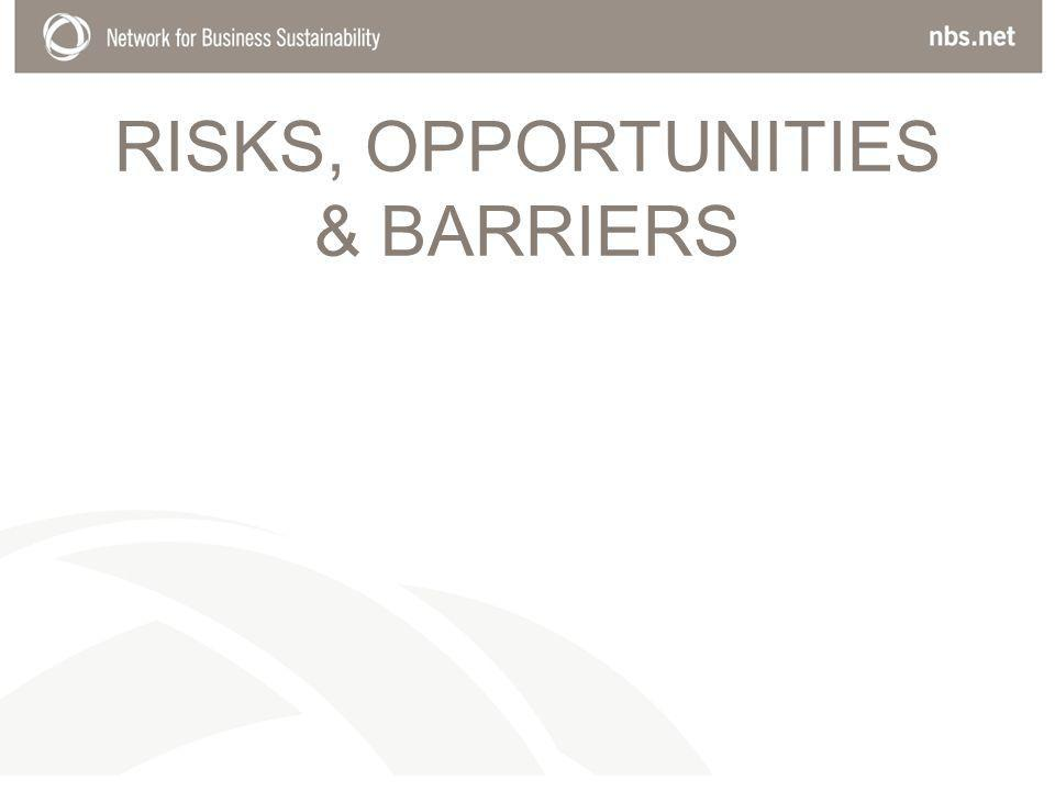 RISKS, OPPORTUNITIES & BARRIERS
