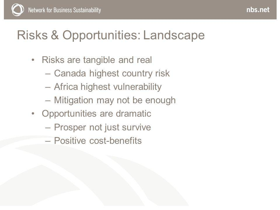Risks & Opportunities: Landscape Risks are tangible and real –Canada highest country risk –Africa highest vulnerability –Mitigation may not be enough Opportunities are dramatic –Prosper not just survive –Positive cost-benefits