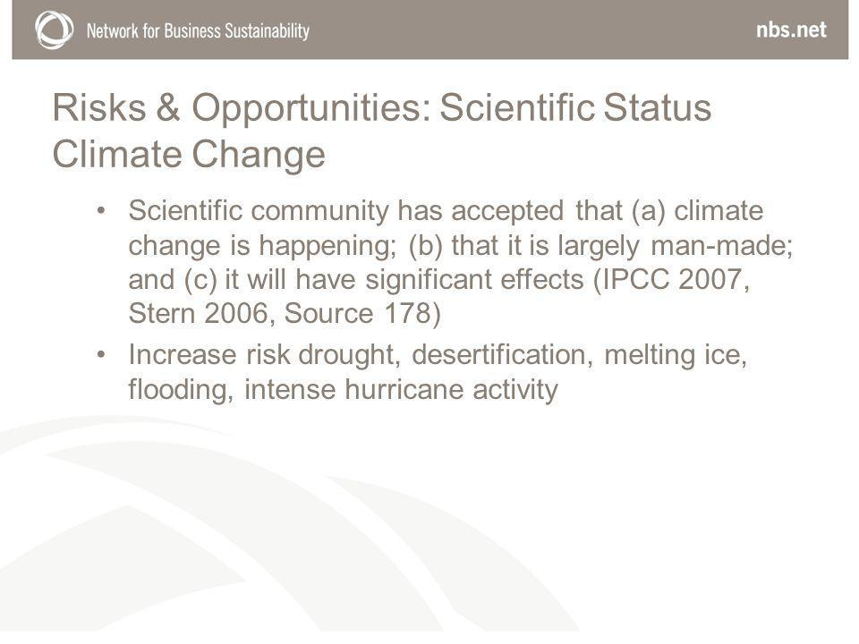 Risks & Opportunities: Scientific Status Climate Change Scientific community has accepted that (a) climate change is happening; (b) that it is largely man-made; and (c) it will have significant effects (IPCC 2007, Stern 2006, Source 178) Increase risk drought, desertification, melting ice, flooding, intense hurricane activity