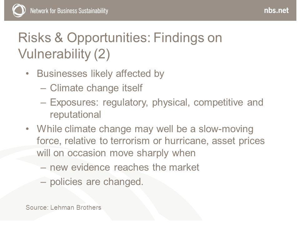 Risks & Opportunities: Findings on Vulnerability (2) Businesses likely affected by –Climate change itself –Exposures: regulatory, physical, competitive and reputational While climate change may well be a slow-moving force, relative to terrorism or hurricane, asset prices will on occasion move sharply when –new evidence reaches the market –policies are changed.