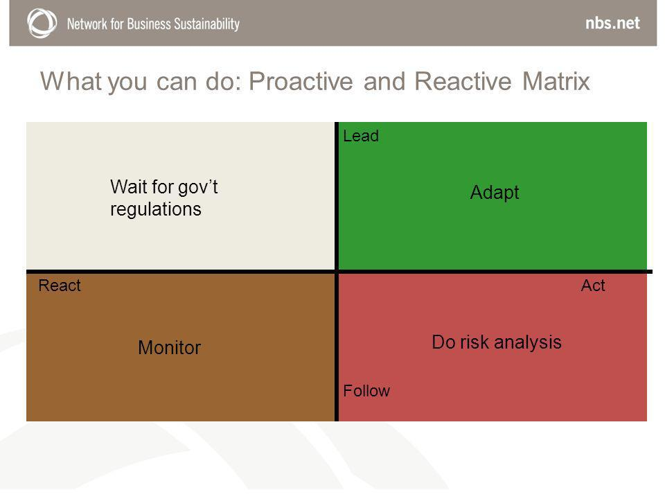 What you can do: Proactive and Reactive Matrix Monitor Follow Lead ReactAct Wait for govt regulations Adapt Do risk analysis